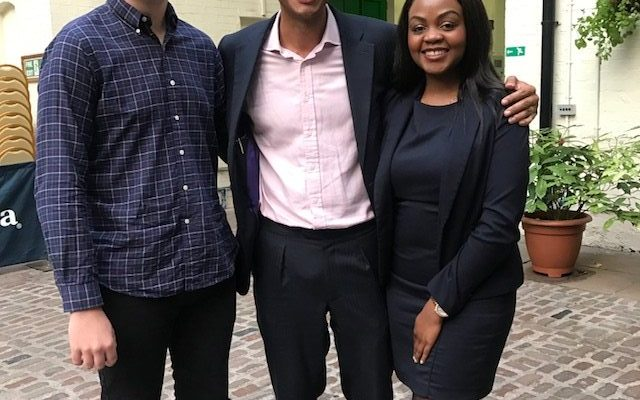A picture of Our Bexit co-founders Vee and Nathan with MP Chuka Umunna